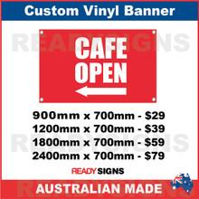 ( ARROW )  CAFE OPEN - CUSTOM VINYL BANNER SIGN