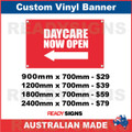 ( ARROW )  DAYCARE NOW OPEN - CUSTOM VINYL BANNER SIGN