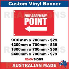 ( ARROW )  FIRE ASSEMBLY POINT  - CUSTOM VINYL BANNER SIGN