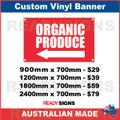 ( ARROW )  ORGANIC PRODUCE - CUSTOM VINYL BANNER SIGN