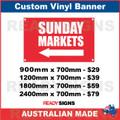 ( ARROW )  SUNDAY MARKETS - CUSTOM VINYL BANNER SIGN