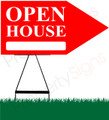 Open House RIGHT Arrow Sign - Red