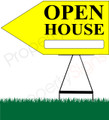 Open House LEFT Arrow Sign - Yellow
