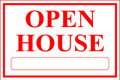 Open House Sign Classic Style- White/Red