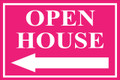 Open House Sign Classic Left Arrow - Pink
