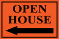 Open House Sign Classic Left Arrow - Orange