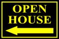 Open House Sign Classic Left Arrow - Blk/Ylw