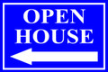 Open House Sign Classic Left Arrow - Blue