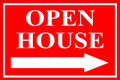 Open House Sign Classic Right Arrow - Red