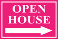 Open House Sign Classic Right Arrow - Pink