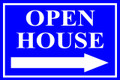 Open House Sign Classic Right Arrow - Blue