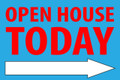 Open House Today -Right Arrow - Electric Blue/Red