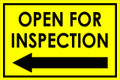 Open For Inspection  - Classic Left Arrow - Yellow