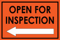 Open For Inspection  - Classic Left Arrow - Orange