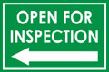 Open For Inspection  - Classic Left Arrow - Green
