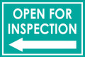 Open For Inspection  - Classic Left Arrow - Teal