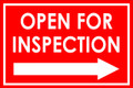 Open For Inspection  - Classic Right Arrow - Red