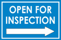 Open For Inspection  - Classic Right Arrow - Blue