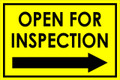 Open For Inspection  - Classic Right Arrow - Yellow