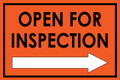 Open For Inspection  - Classic Right Arrow - Orange