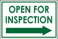 Open For Inspection  - Classic Right Arrow - White/Green