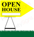 Open House RIGHT Arrow Sign - Yellow