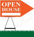 Open House RIGHT Arrow Sign - Orange
