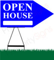 Open House RIGHT Arrow Sign - Bright Blue