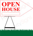 Open House RIGHT Arrow Sign - White/Red