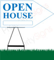 Open House RIGHT Arrow Sign - White/Blue