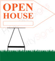Open House RIGHT Arrow Sign - White/Orange