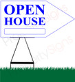 Open House RIGHT Arrow Sign - White/Bright Blue