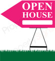 Open House LEFT Arrow Pointer Sign - Pink