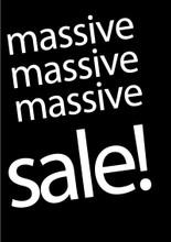 Black & white  massive sale poster