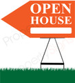 Open House LEFT Arrow Pointer Sign - Orange