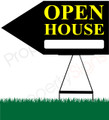 Open House LEFT Arrow Pointer Sign - Black/Ylw