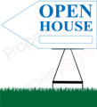 Open House LEFT Arrow Pointer Sign - White/Light Blue