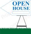 Open House LEFT Arrow Pointer Sign - White/Light Blue