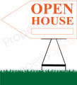 Open House LEFT Arrow Pointer Sign - White/Orange