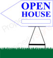 Open House LEFT Arrow Pointer Sign - White/Bright Blue
