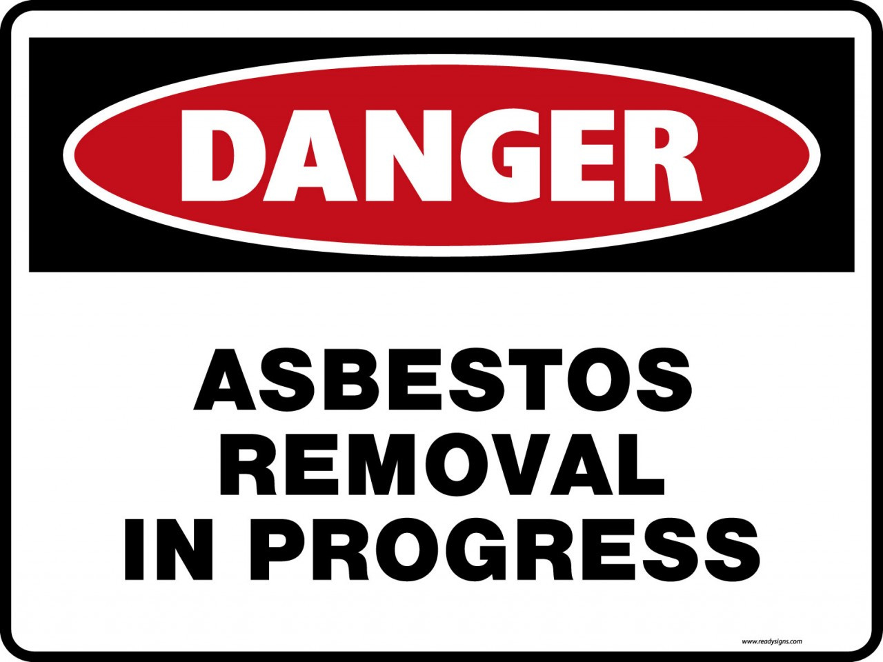 danger signs - asbestos removal in progress