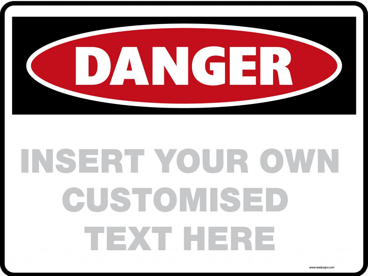 danger signs blank your customised text property signs. Black Bedroom Furniture Sets. Home Design Ideas
