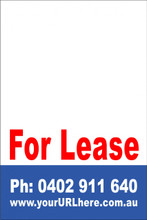 For Lease Sign No. 12 Customise your Ph & URL