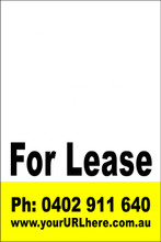 For Lease Sign No. 21 Customise your Ph & URL
