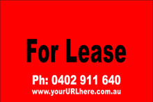 For Lease Sign No. 8 Landscape Customise your Ph & URL