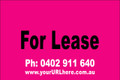 For Lease Sign No. 9 Landscape Customise your Ph & URL