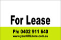 For Lease Sign No. 11 Landscape Customise your Ph & URL