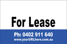 For Lease Sign No. 16 Landscape Customise your Ph & URL