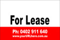 For Lease Sign No. 23 Landscape Customise your Ph & URL