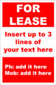 For Lease Sign No. D1 Customise your details